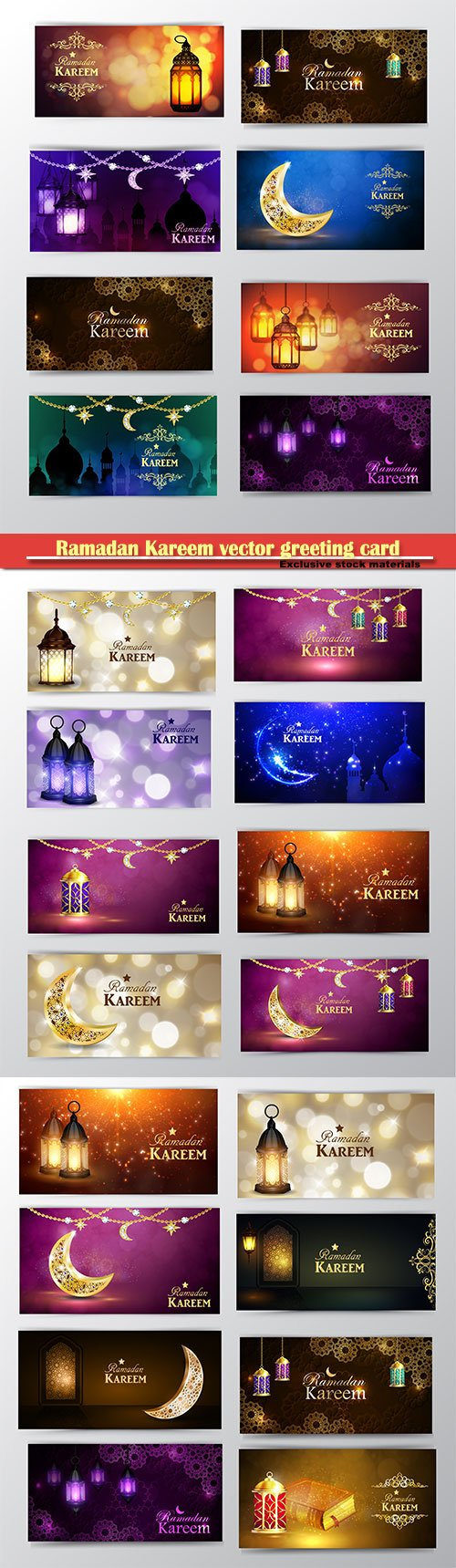 Ramadan Kareem vector greeting background, banner set