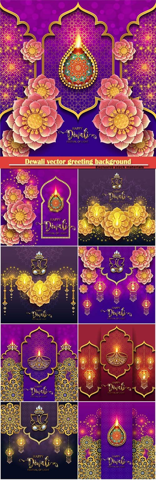 Dewali vector greeting background with flowers and lamps