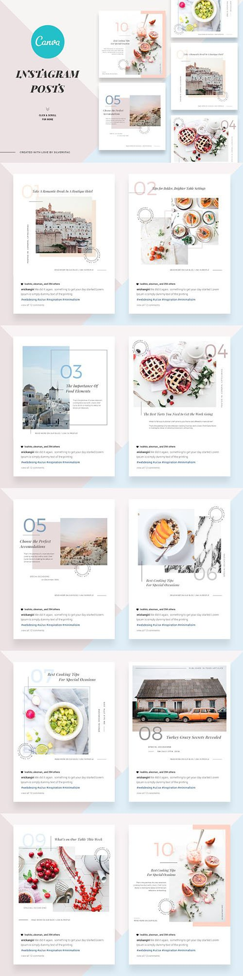 CreativeMarket - CANVA Food & Travel Instagram Posts 2676848