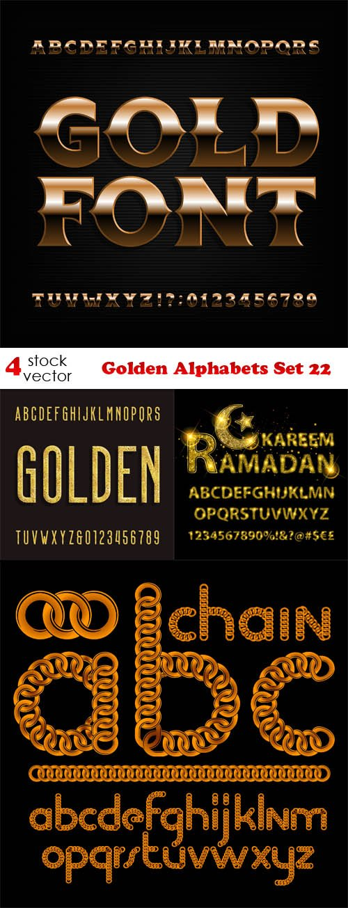 Vectors - Golden Alphabets Set 22
