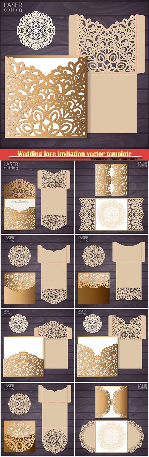 Wedding lace invitation vector template, template for laser cutting, die cut pocket envelope template