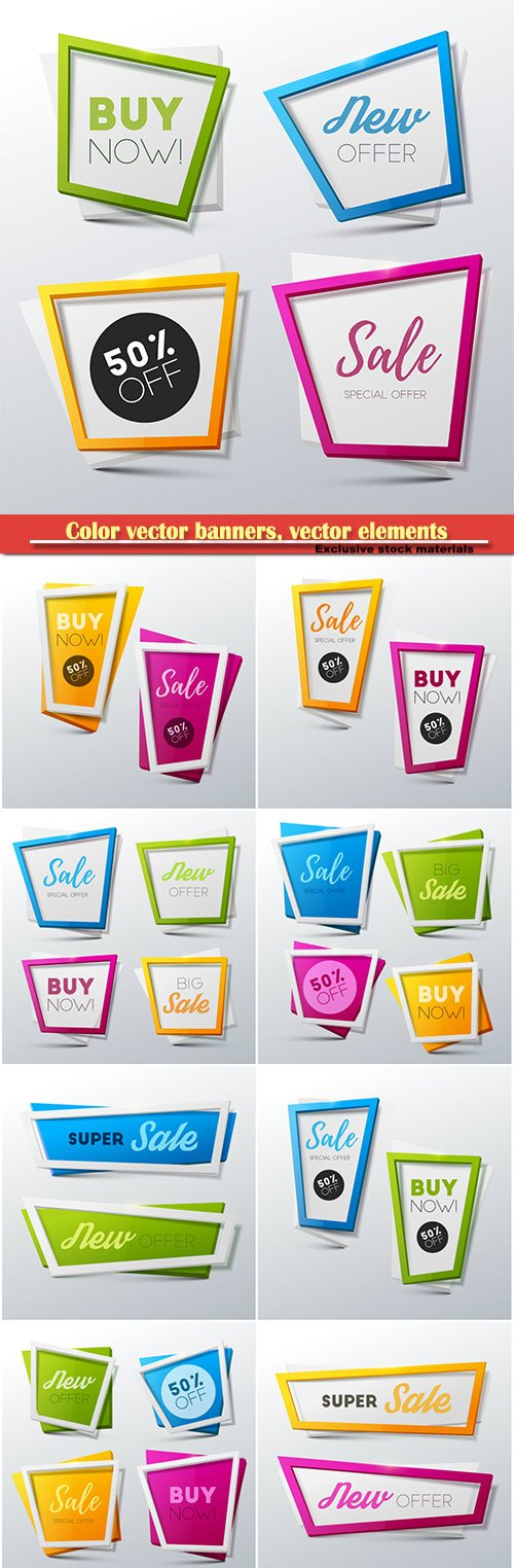 Color vector banners, vector elements discount