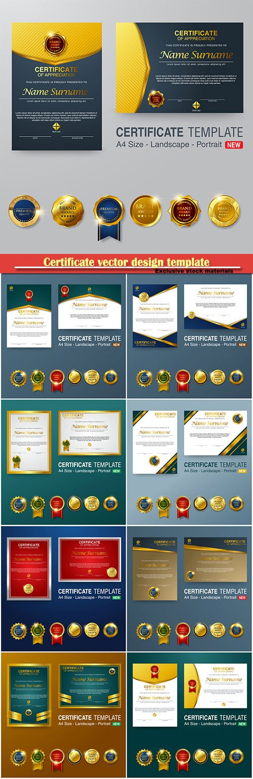 Certificate and vector diploma design template # 76