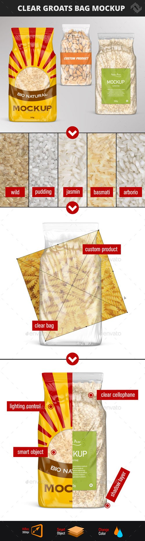 GR - Clear Plastic Rice Bag Mockup 22119181