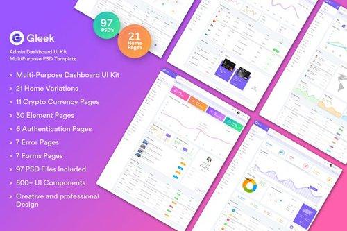Gleek - Admin Dashboard UI Kit MultiPurpose PSD » NitroGFX