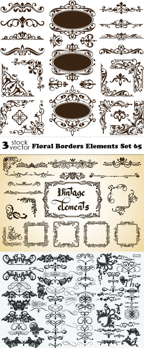 Vectors - Floral Borders Elements Set 65