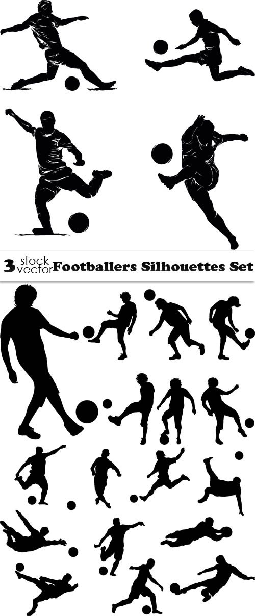 Vectors - Footballers Silhouettes Set