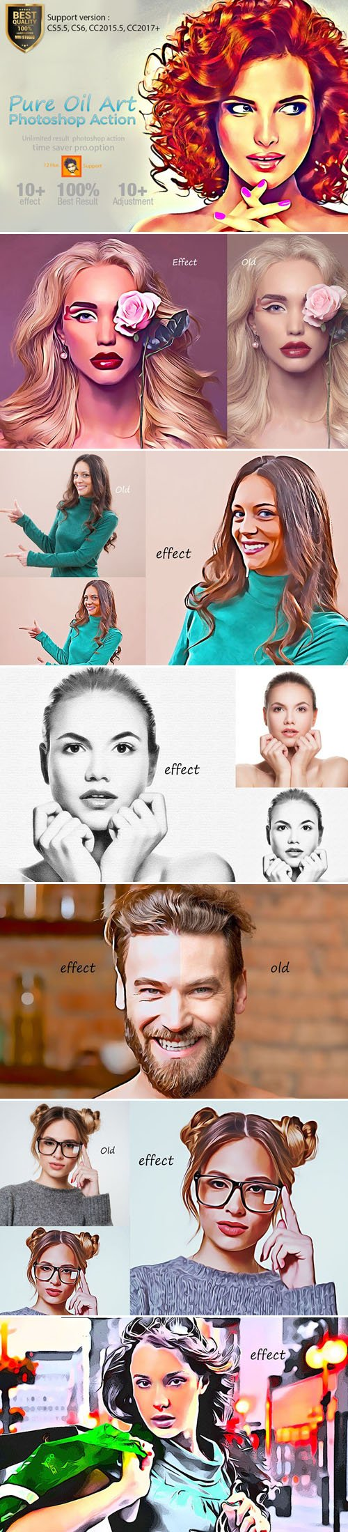 Pure Oil Art Actions for Photoshop