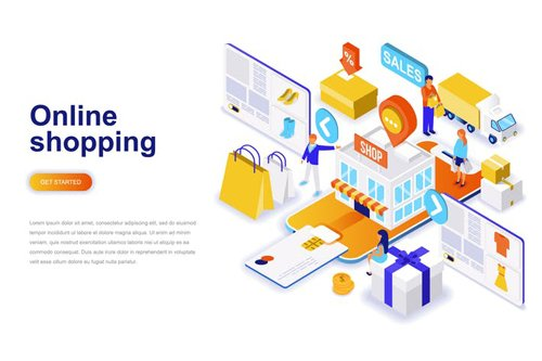 Online Shopping Isometric Concept