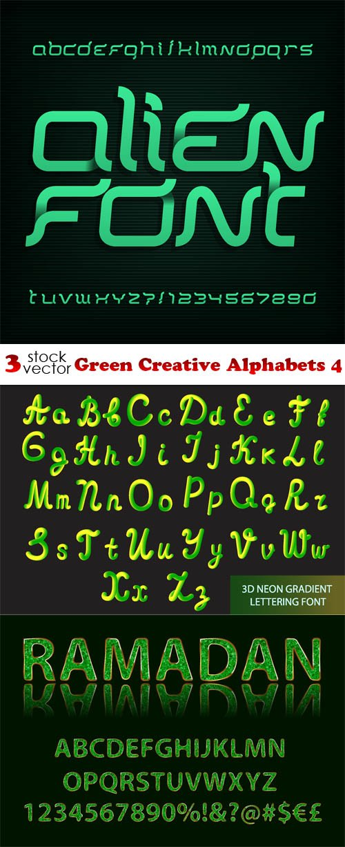 Vectors - Green Creative Alphabets 4