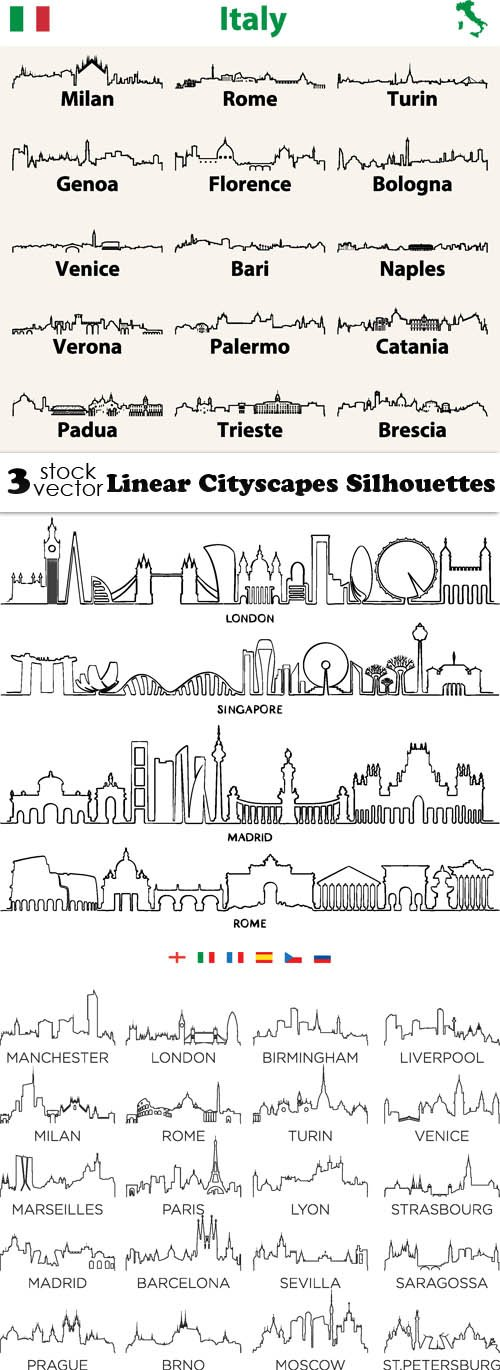 Vectors - Linear Cityscapes Silhouettes