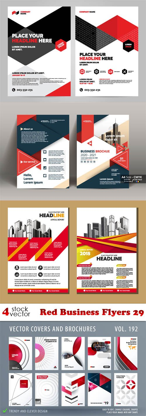 Vectors - Red Business Flyers 29