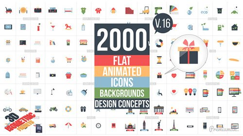 Flat Animated Icons Library V.16 - Project for After Effects (Videohive)