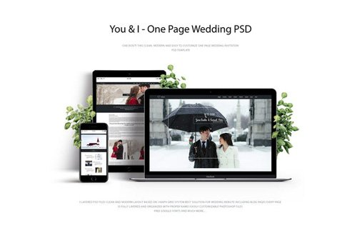 You & I - One Page Wedding PSD Template