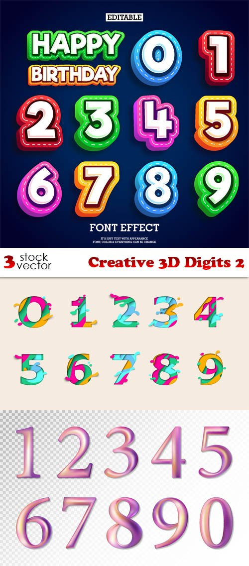 Vectors - Creative 3D Digits 2