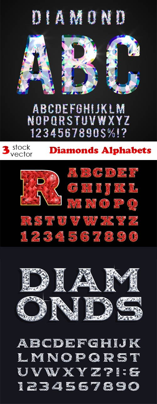 Vectors - Diamonds Alphabets Set