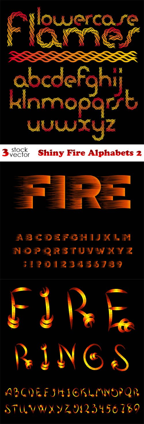 Vectors - Shiny Fire Alphabets 2