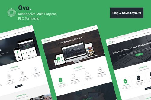 Ova Blog & News PSD Template