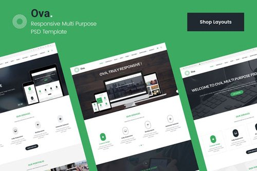 Ova Shop & Ecommerce PSD Template