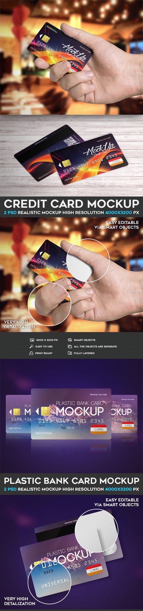 Credit Card - 4 PSD Mockups Collection
