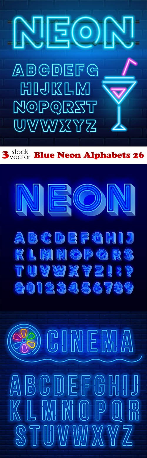 Vectors - Blue Neon Alphabets 26