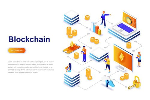 Blockchain and Cryptocurrency Isometric Concept