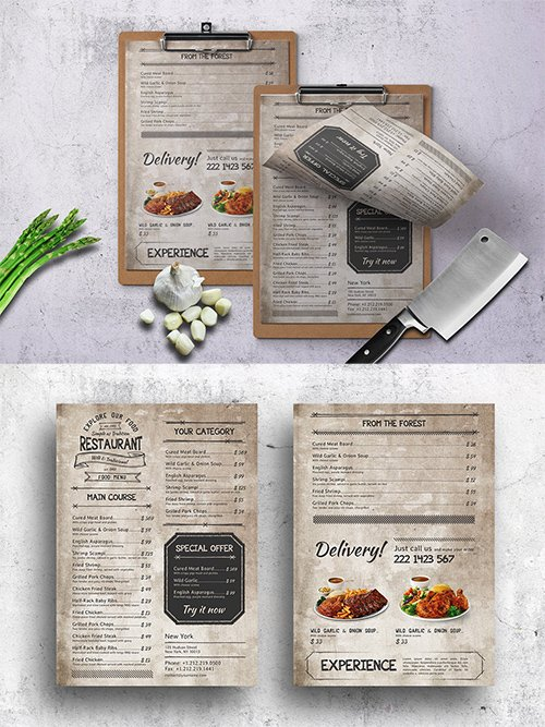 PSD Vintage Food Menu