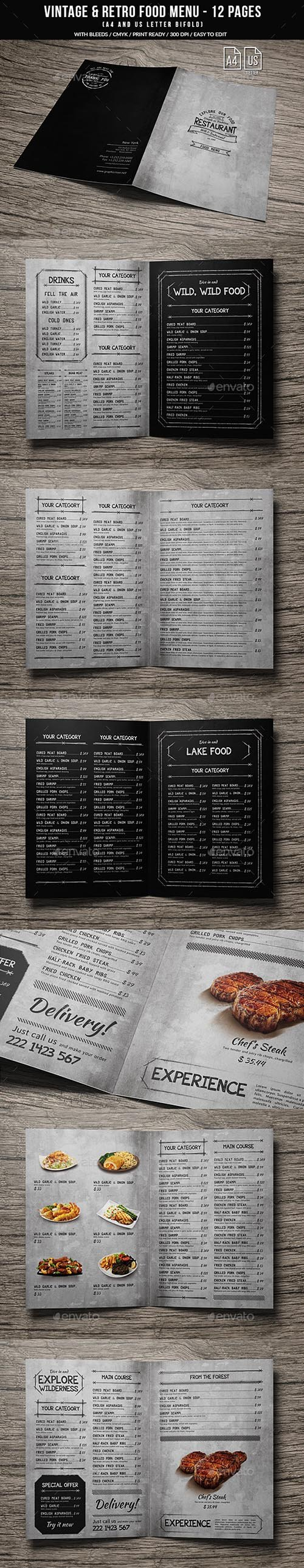 GR - Vintage And Retro Bifold Menu A4 & US Letter - 12 pgs
