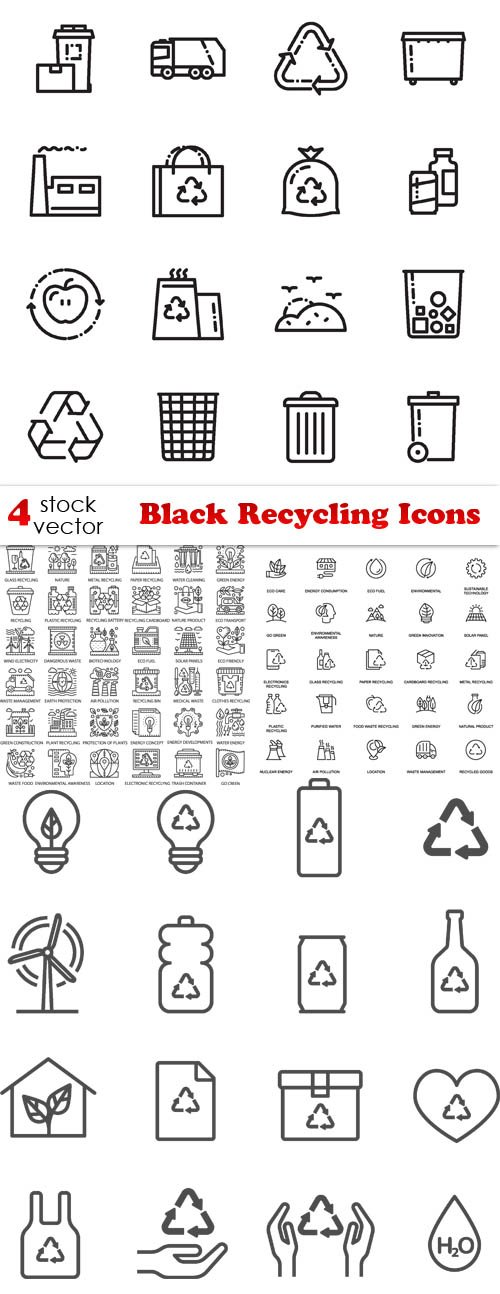 Vectors - Black Recycling Icons