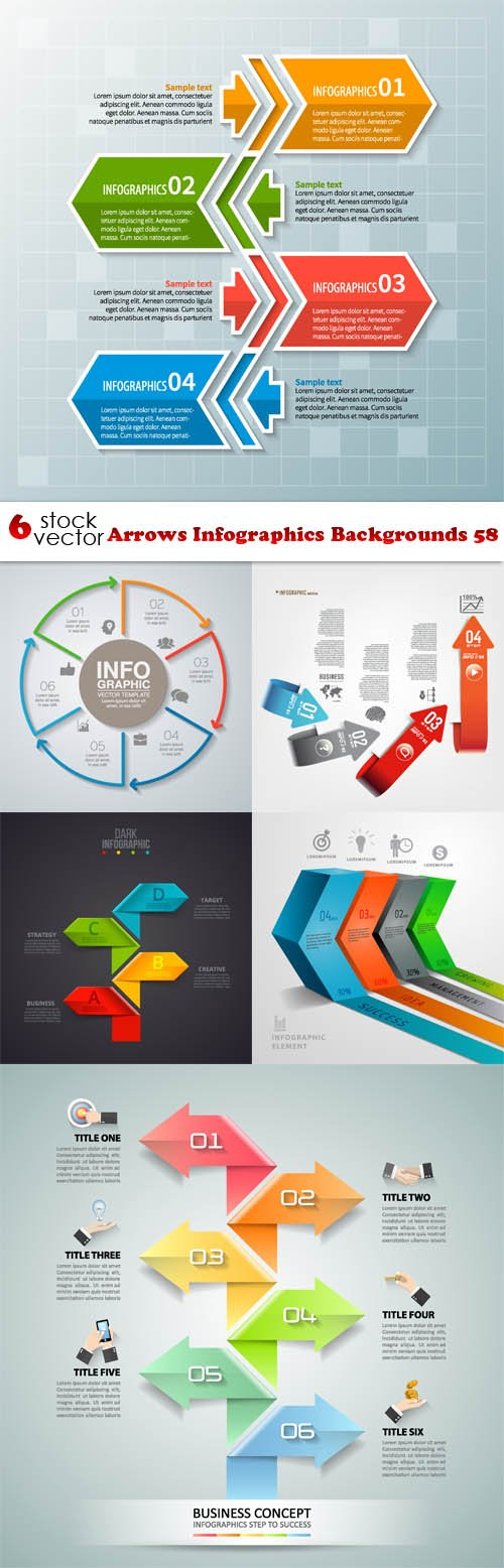 Vectors - Arrows Infographics Backgrounds 58