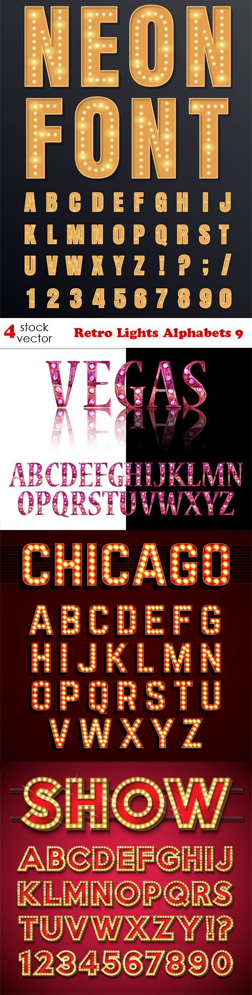 Vectors - Retro Lights Alphabets 9
