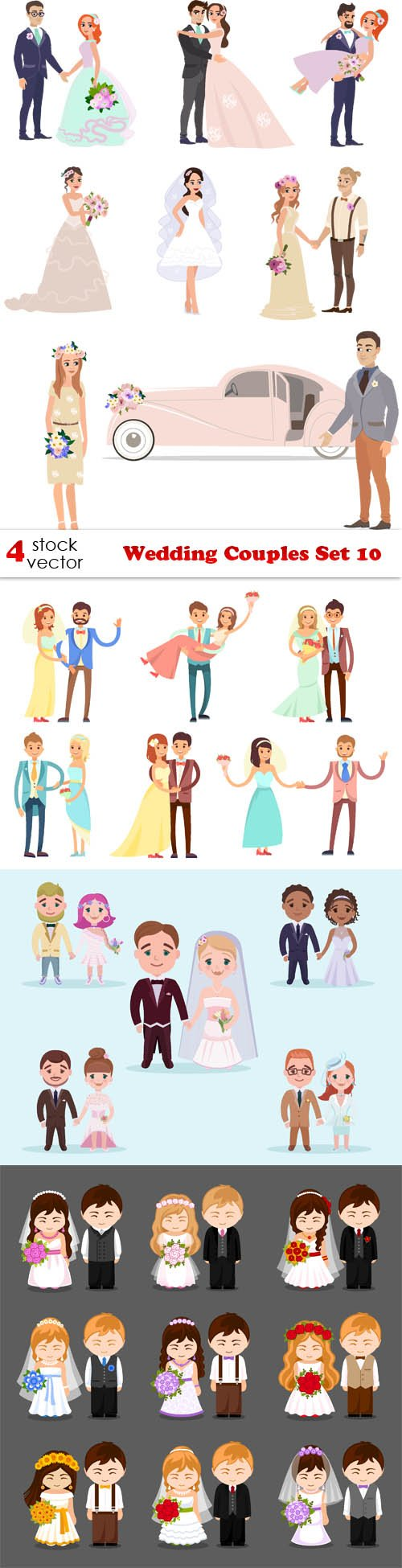 Vectors - Wedding Couples Set 10
