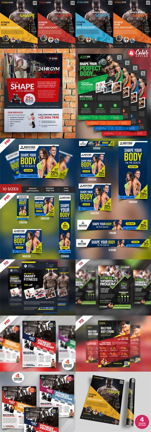 8 Colored Health Fitness and Gym Flyers PSD Templates