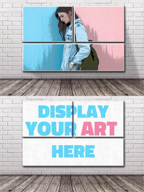 Brick Wall Art PSD Mockup
