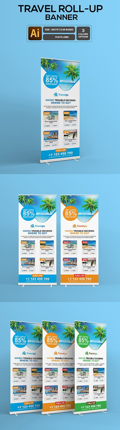 3 Travel Roll-up Banner Template in Vector