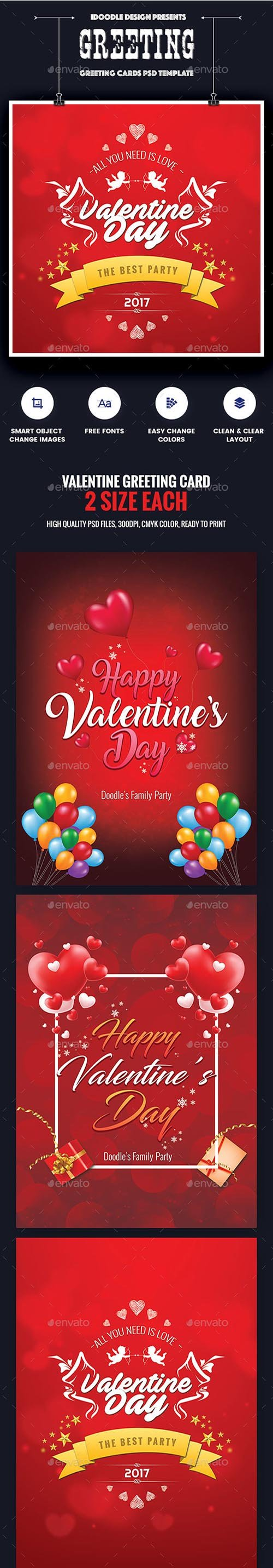 GR - Valentine Greeting Card - 06 PSD [02 Size Each - 7x5 & 5x7] 19261223