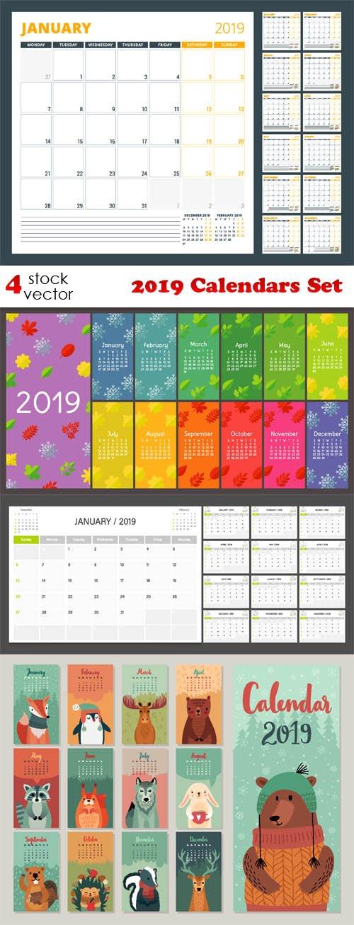 Vectors - 2019 Calendars Set