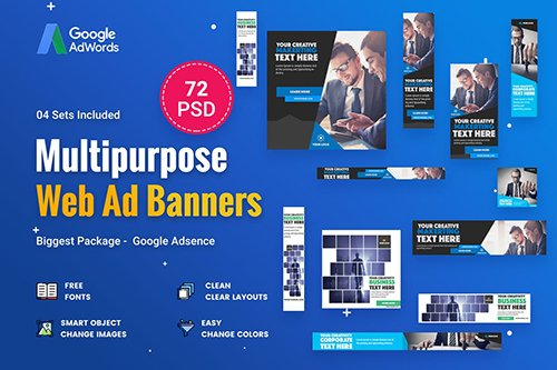 Multipurpose, Business Banners Ad - 72 PSD