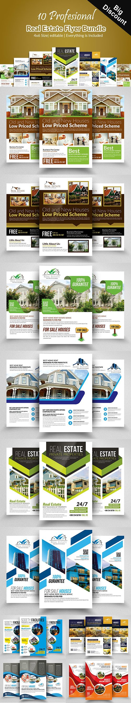 CreativeMarket - 10 Real Estate Flyers Bundle 2351629
