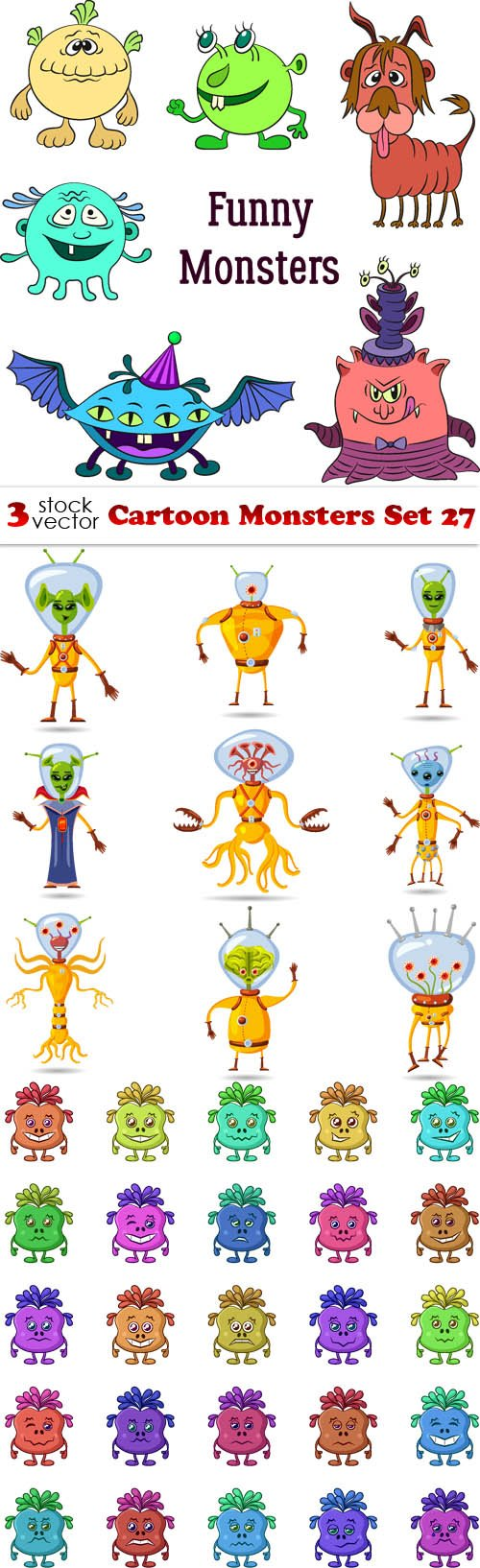 Vectors - Cartoon Monsters Set 27