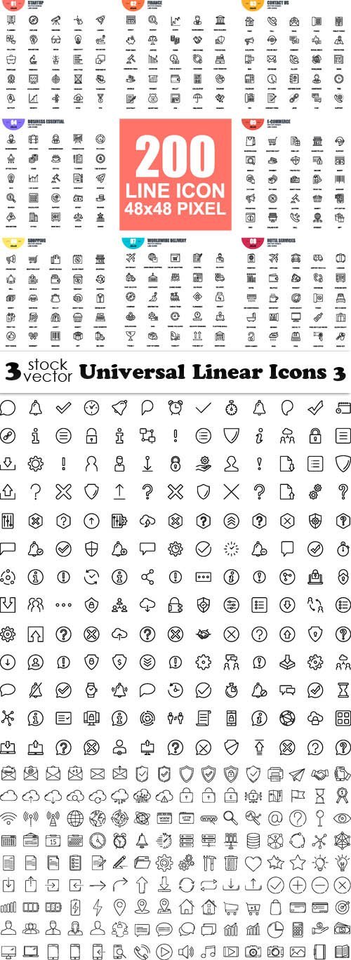 Vectors - Universal Linear Icons 3