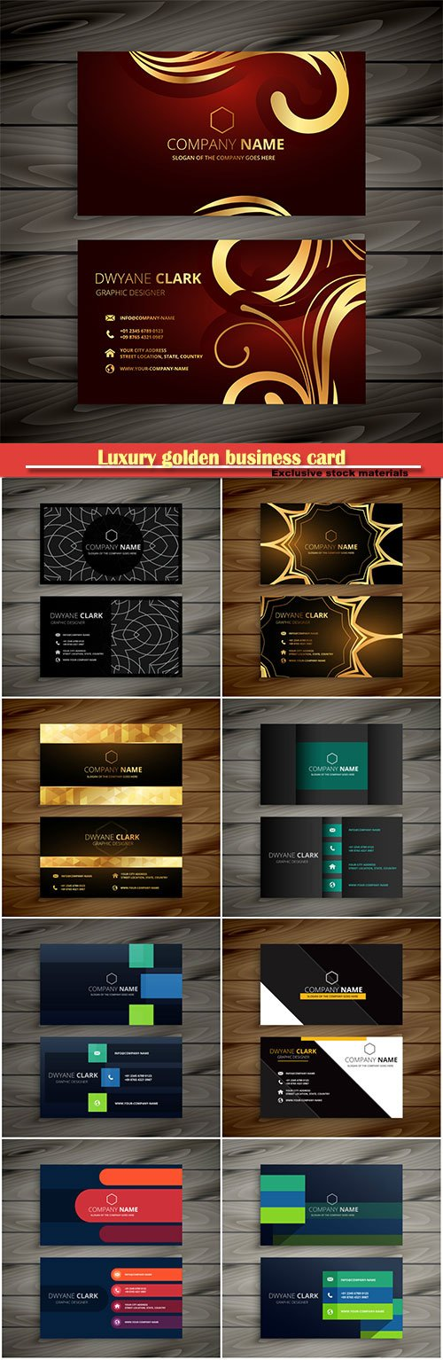 Luxury golden business card  vector design