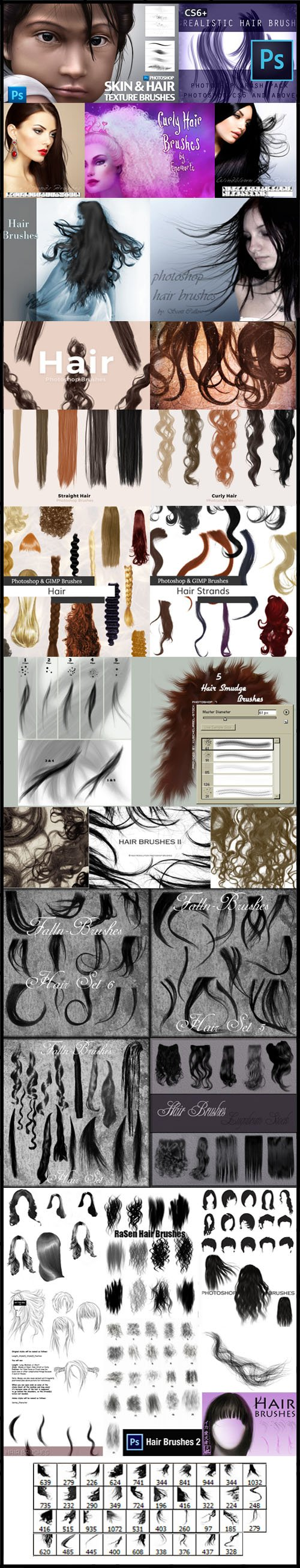 25 Fascinating Hair Brushes Bundle for Photoshop