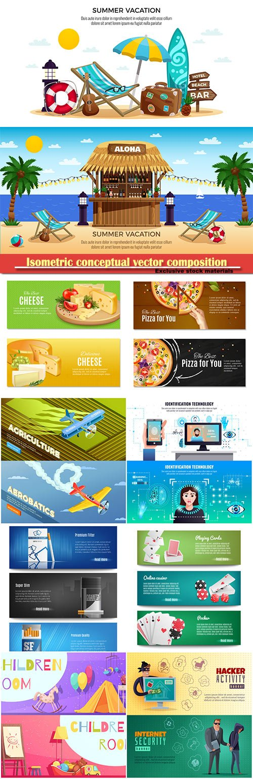 Isometric conceptual vector composition, infographics template, horizontal banners set # 19