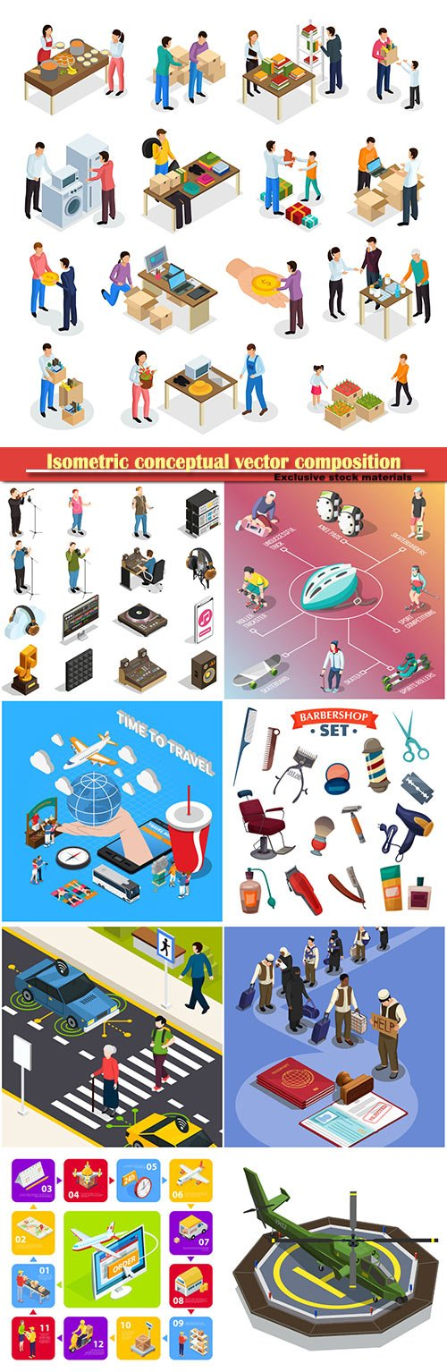 Isometric conceptual vector composition, infographics template, horizontal banners set # 20
