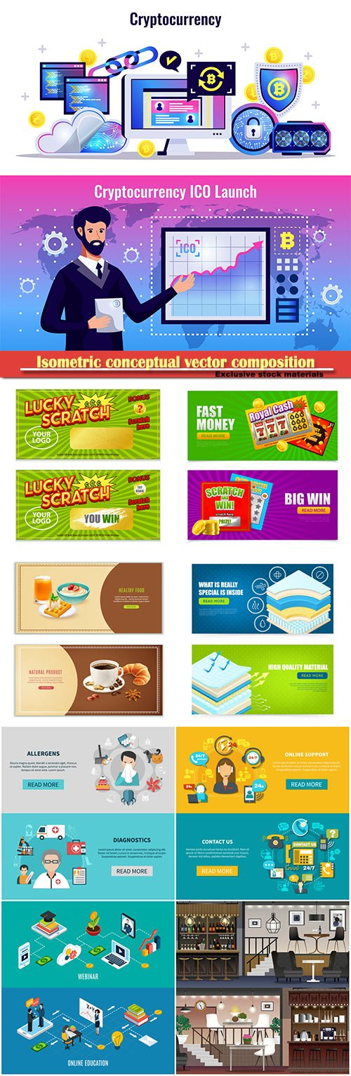 Isometric conceptual vector composition, infographics template, horizontal banners set # 18