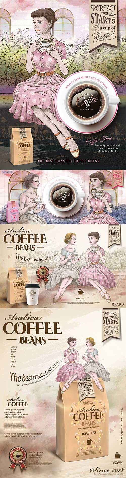 Retro coffee beans ads in 3d vector illustration