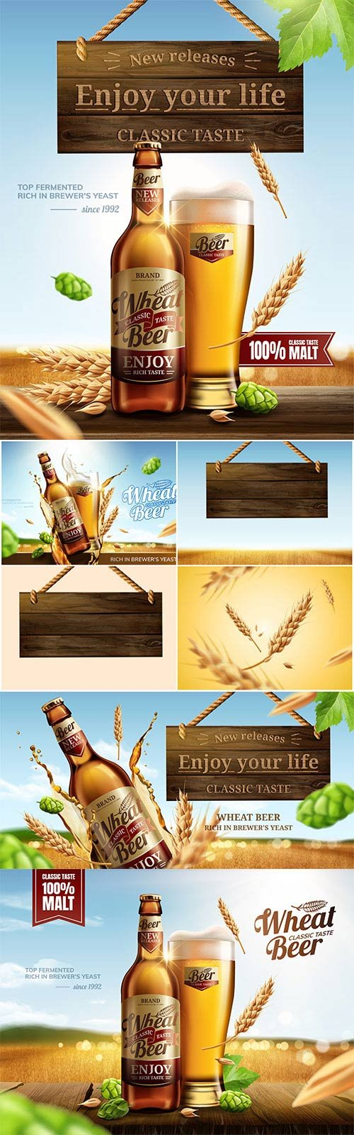 Attractive glass bottle wheat beer in 3d vector illustration