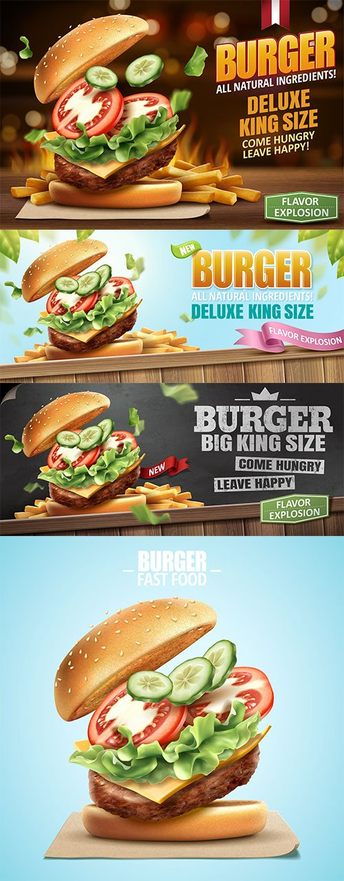 Deluxe king size burger in 3d illustration