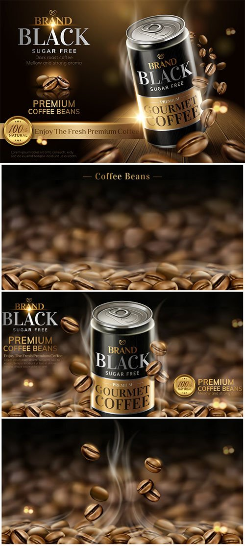 Premium black canned coffee ads with beans background in 3d illustration